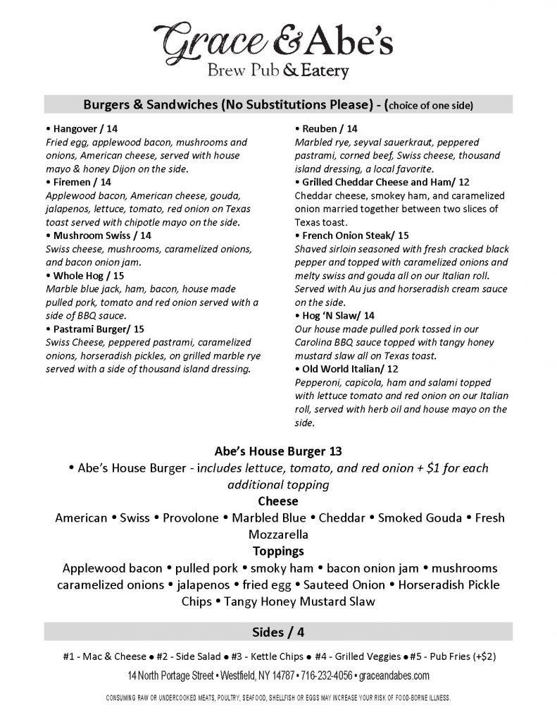 grace and abe's brewpub menu westfield ny